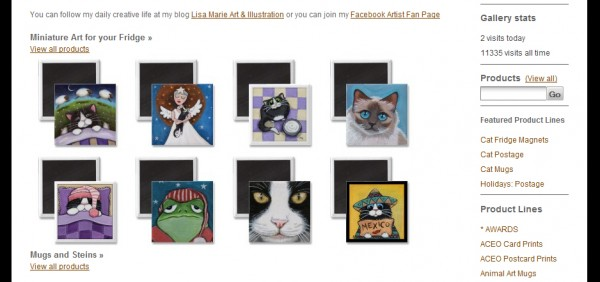 A gallery home page feature using Zazzle product images.