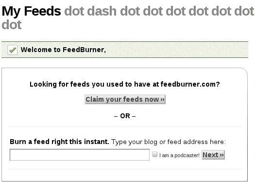 The Google Feedburner Homepage