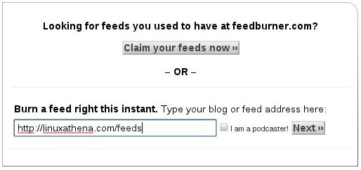 Entering your WordPress feed's URL
