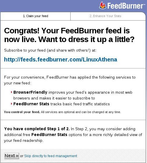 Congratulations, you've burnt your first feed with FeedBurner